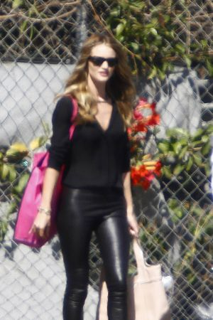 Rosie Huntington-Whiteley makes her way for an interview on the Chelse