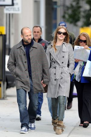 Rosie Huntington-Whiteley walking around after having lunch at the Tea and Sympathy Restaurant