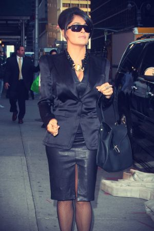 Salma Hayek arrives at The Late Show with David Letterman