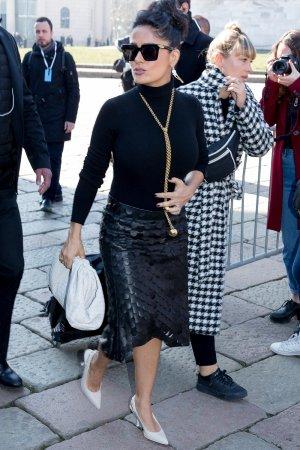 Salma Hayek leaving the Bottega Veneta Show