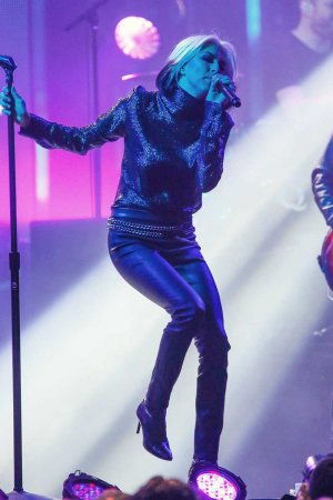 Sarah Barthel of music band 'Phantogram' is seen at 'Jimmy Kimmel Live'