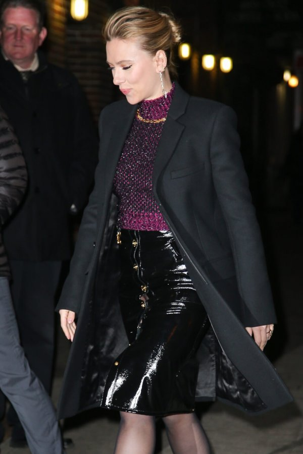 Scarlett Johansson arrives at The Late Show With Stephen Colbert'