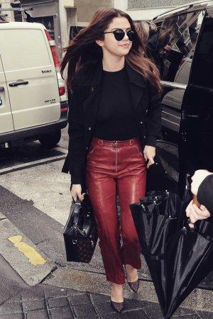 Selena Gomez at her hotel in Paris