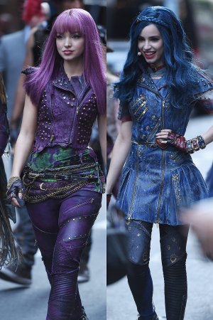 Sofia Carson and Dove Cameron seen at Good Morning America studios