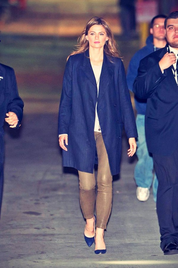 Stana Katic Is Seen At Jimmy Kimmel Live Leather Celebrities