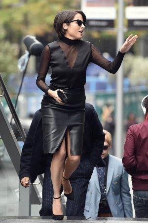 Stephanie Leonidas on set filming Snatch TV Show