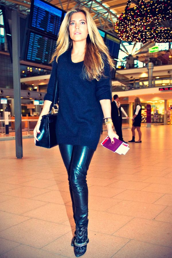 sylvie van der vaart at hamburg airport leather celebrities
