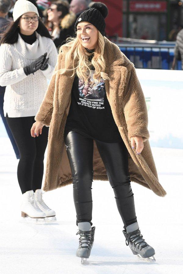Tallia Storm ice skating in Bryant Park
