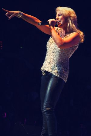 Tanja Michelle Thomas while performing on stage