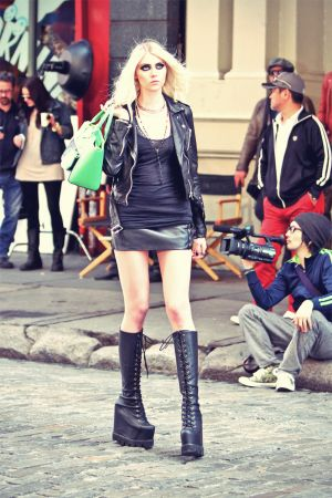 Taylor Momsen music video set candids