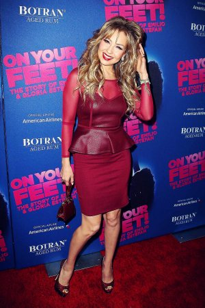 Thalia attends opening night for On Your Feet