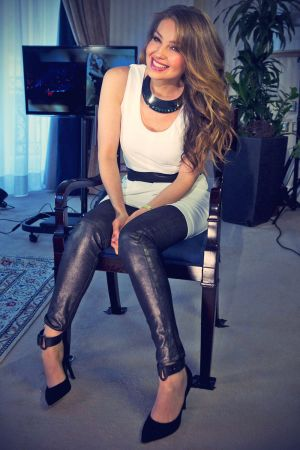 Thalia poses during an interview at the presentation of Habitame siempre