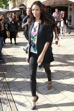 Thandie Newton Interviews With Extra at The Grove in LA