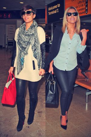 The Saturdays arrives back at Heathrow