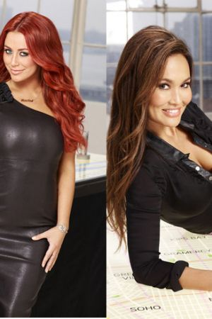 Tia Carrere and Aubrey O'Day competes in the 12th season of The Celebrity Apprentice