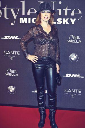 Tina Ruland attends Mercedes-Benz Fashion Week
