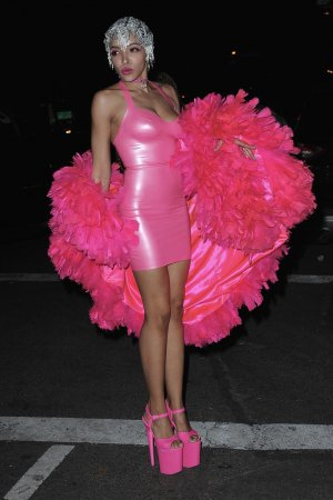 Tinashe is seen arriving at Heidi Klum's 17th Annual Halloween Party