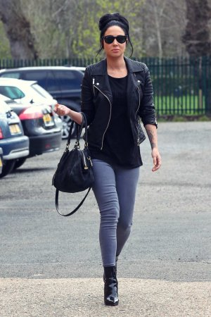 Tulisa Contostavlos arriving at a studio