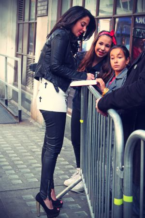 Tulisa Contostavlos in front of BBC Radio 1