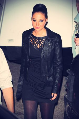 Tulisa Contostavlos leaving Fountain Studios