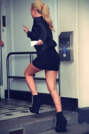 Tulisa Contostavlos seen arriving at BBC radio one studios