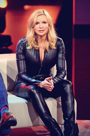 Veronica Ferres recording the RTL show Back to School