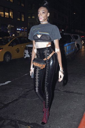 Winnie Harlow leaving the Fenty Puma by Rihanna S/S18 show