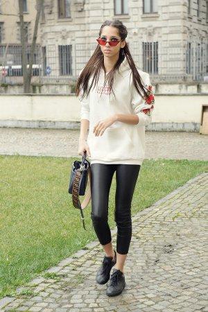 Yasmin Wijnaldum attends Milan Fashion Week