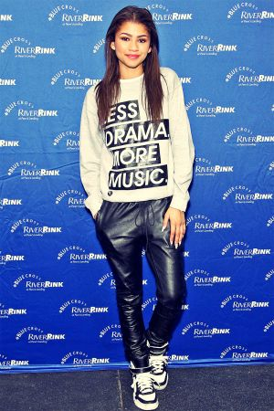 Zendaya Coleman attends Blue Cross River Rink Grand Opening