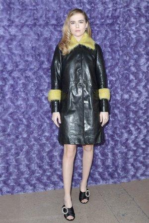 Zoey Deutch is seen arriving at Miu Miu fashion show