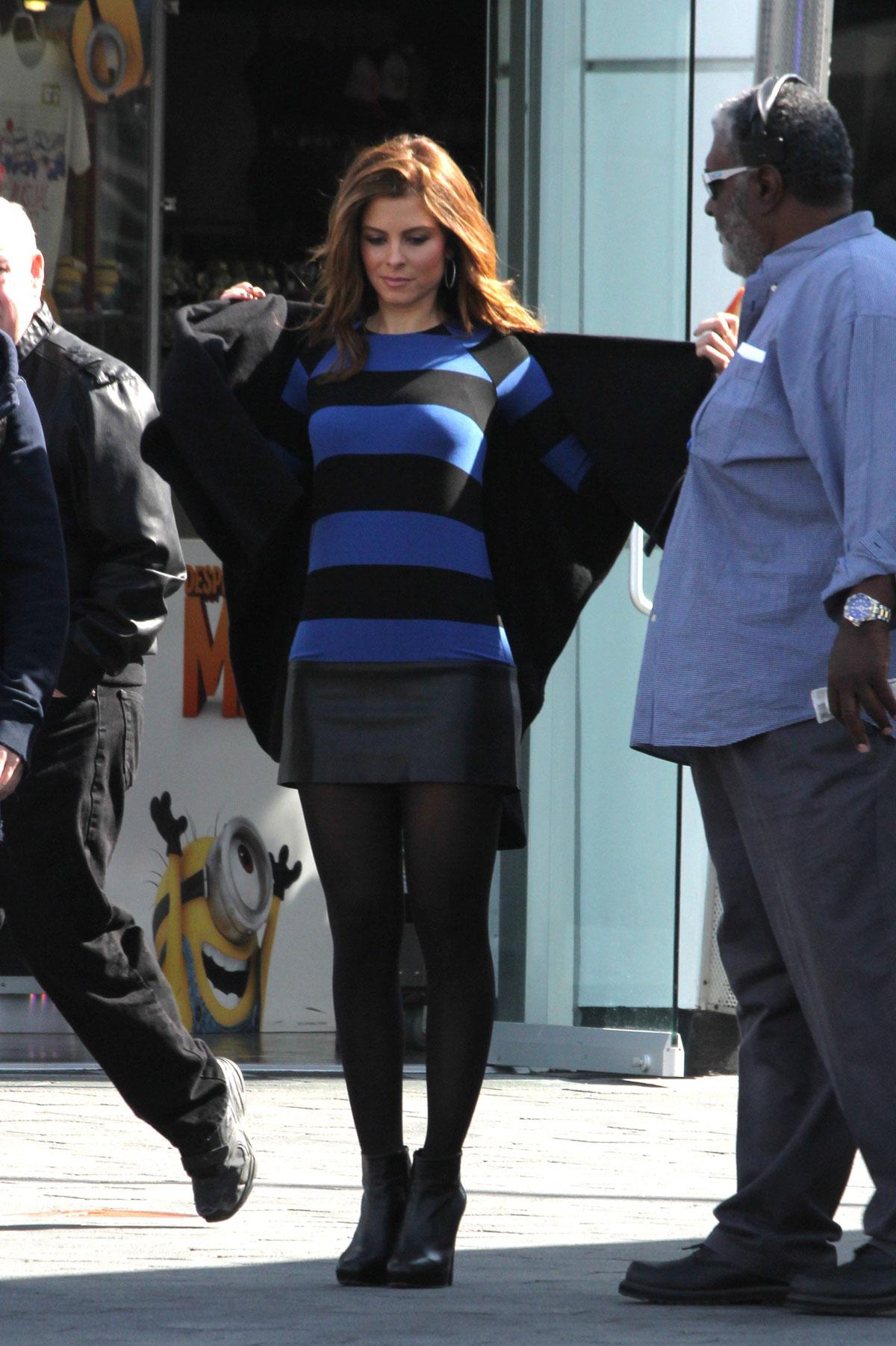 Maria Menounos filming Extra at Universal Studios