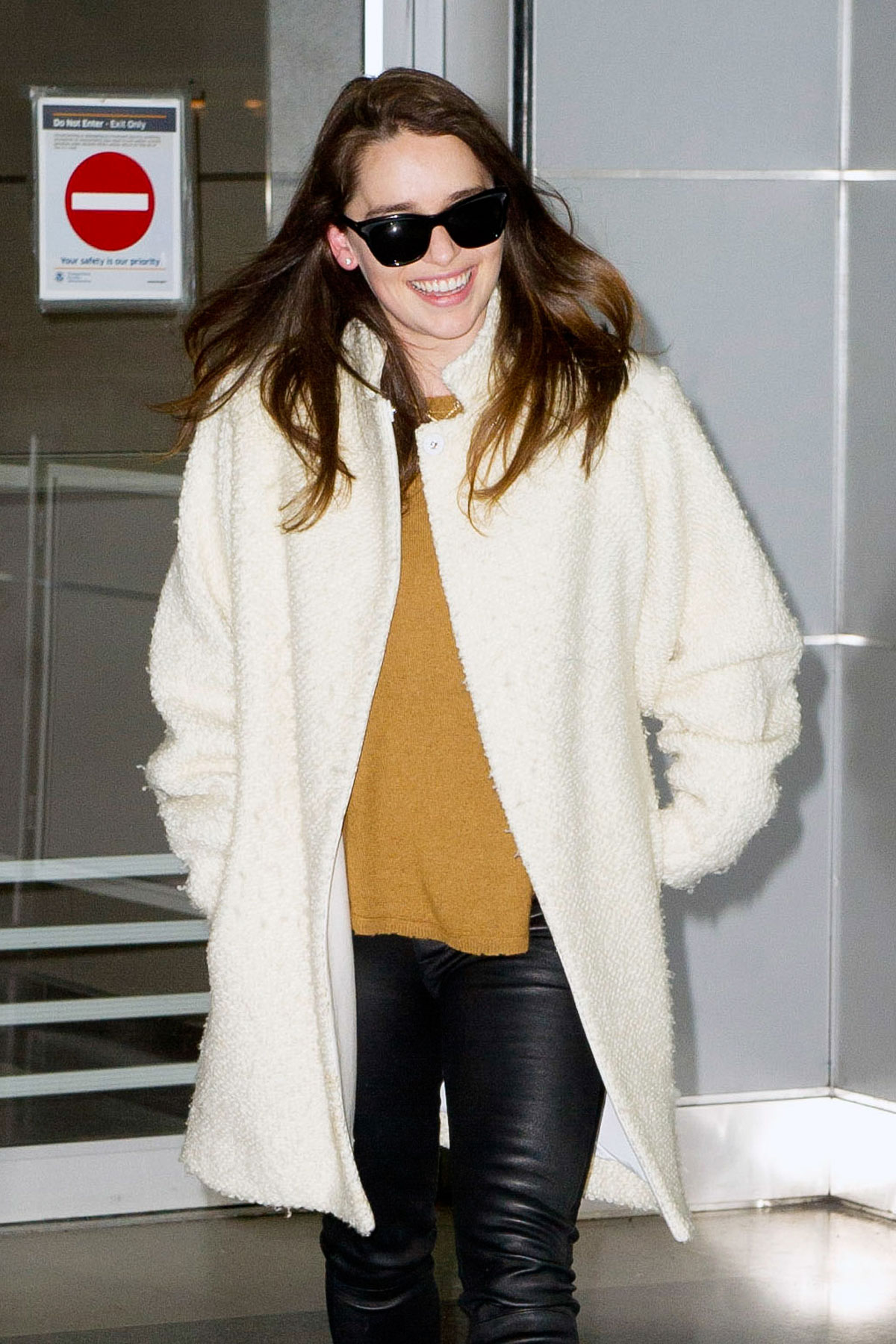 Emilia Clarke arrives at JFK airport