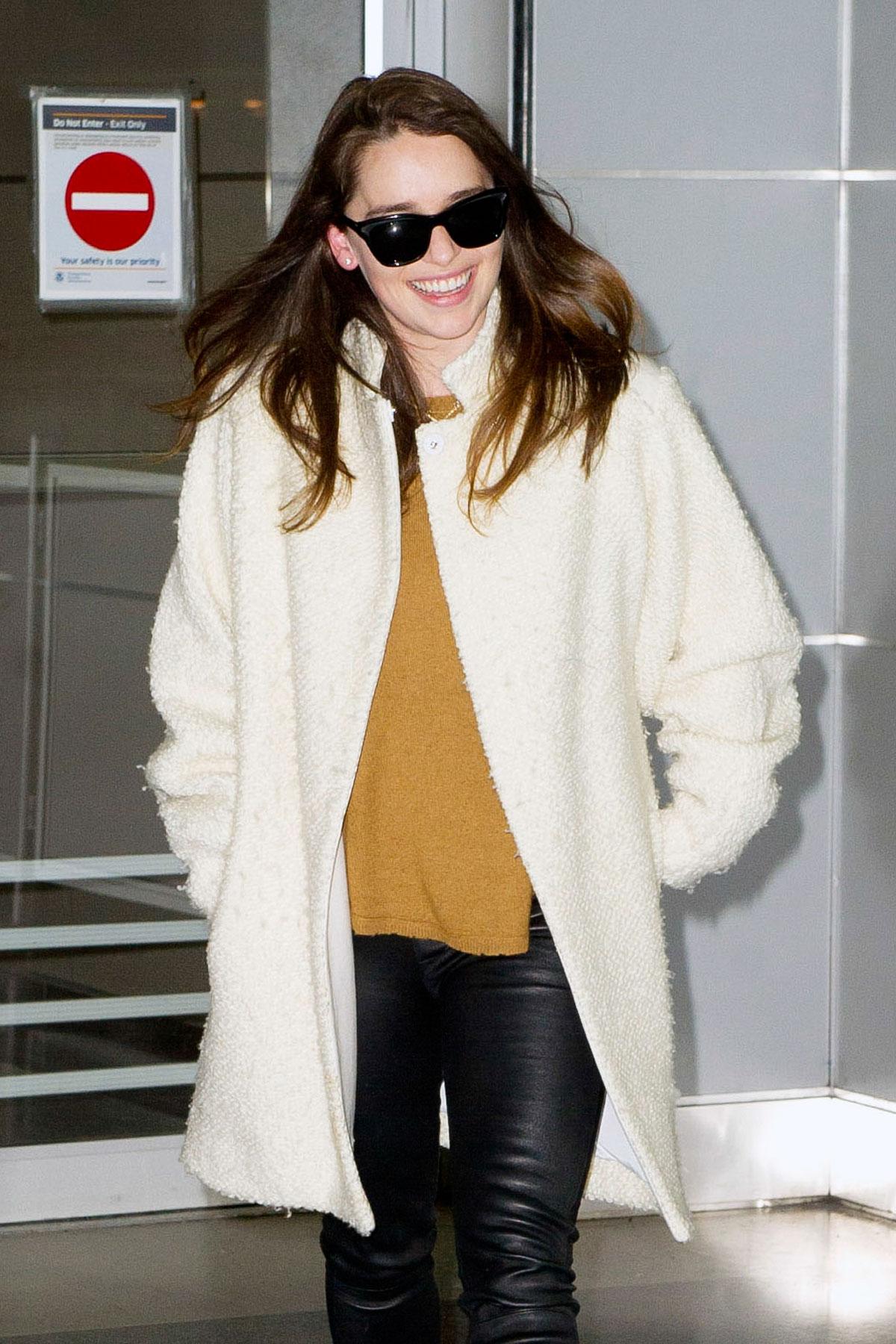 Emilia Clarke arrives at JFK airport