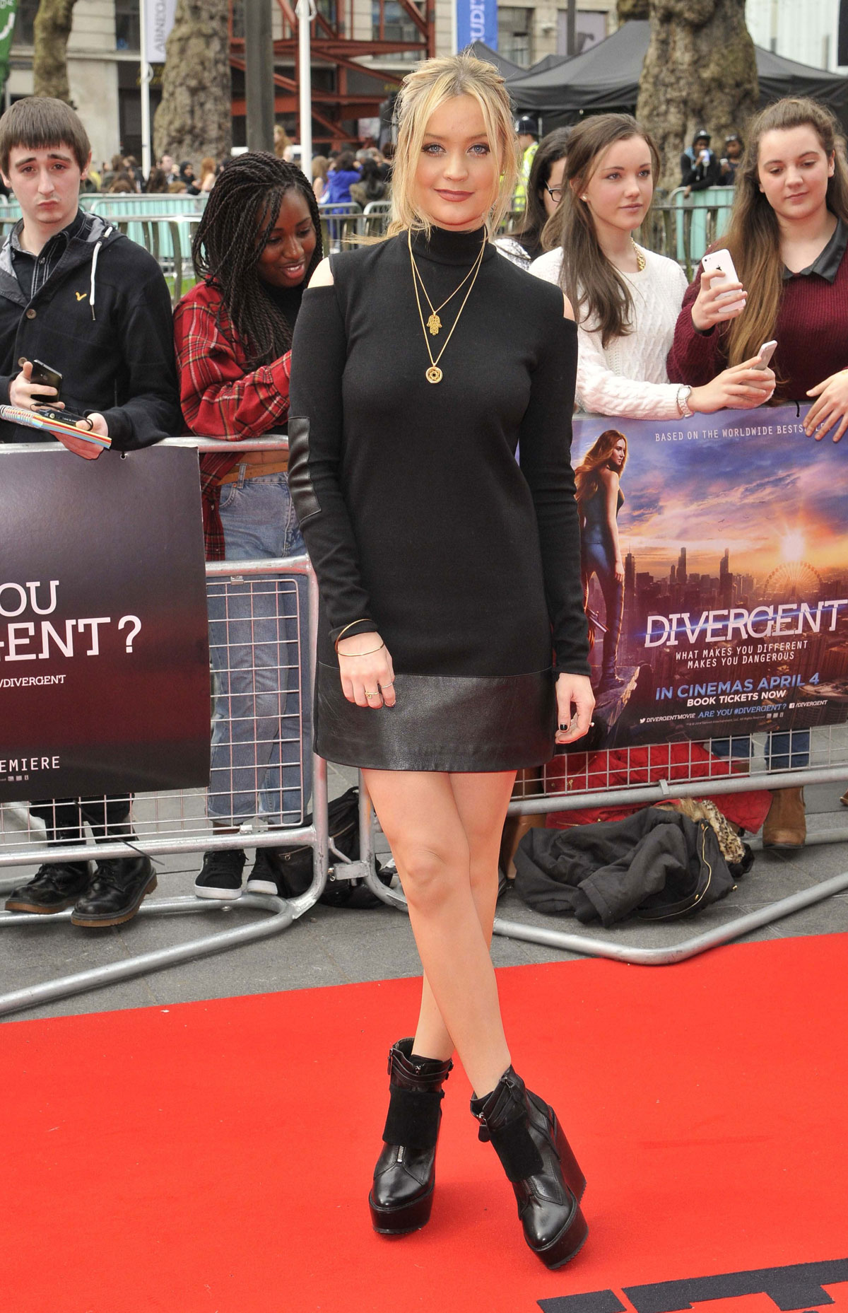 Laura Whitmore attends the European premiere of Divergent