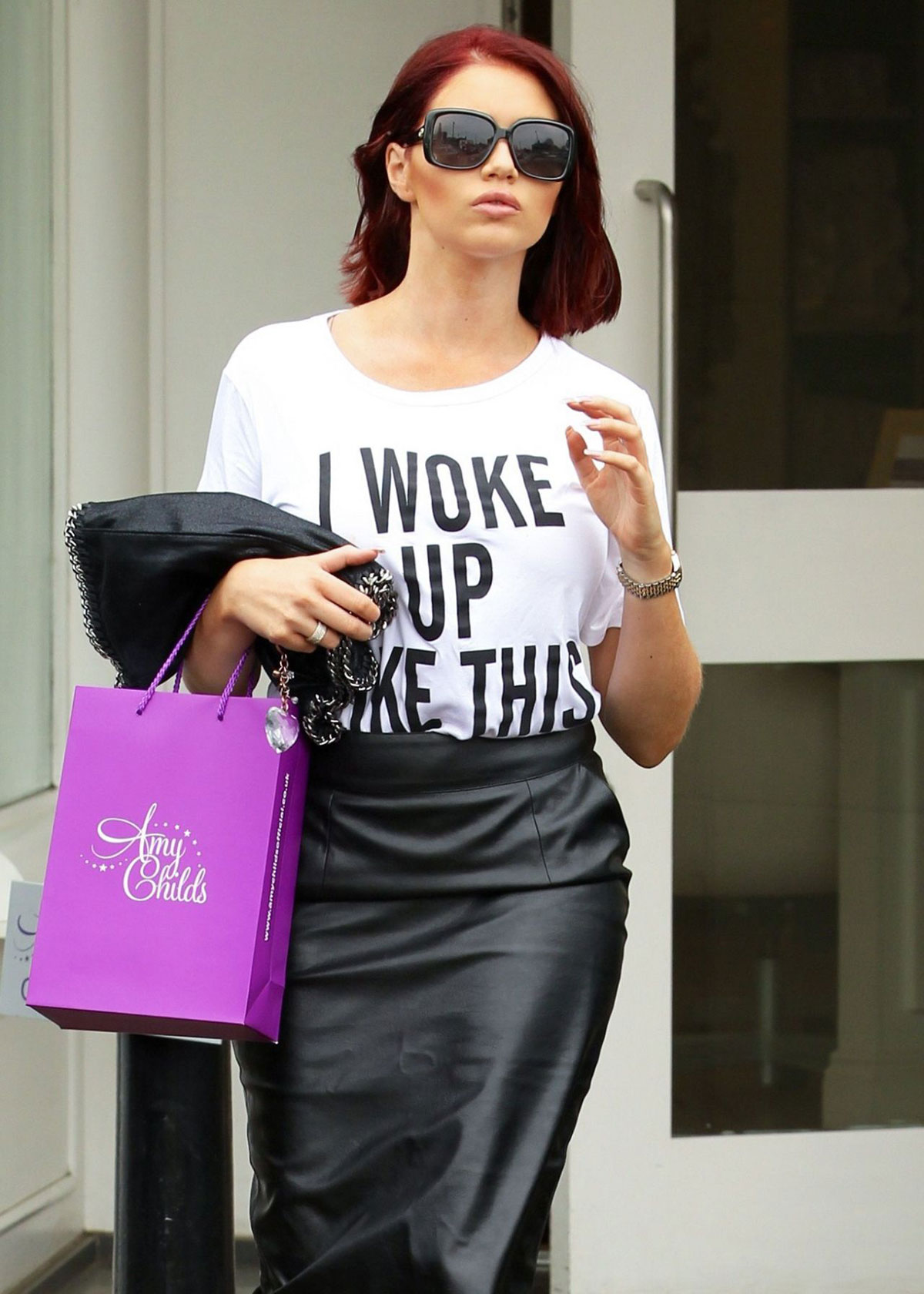 Amy Childs leaving her shop in Brentwood