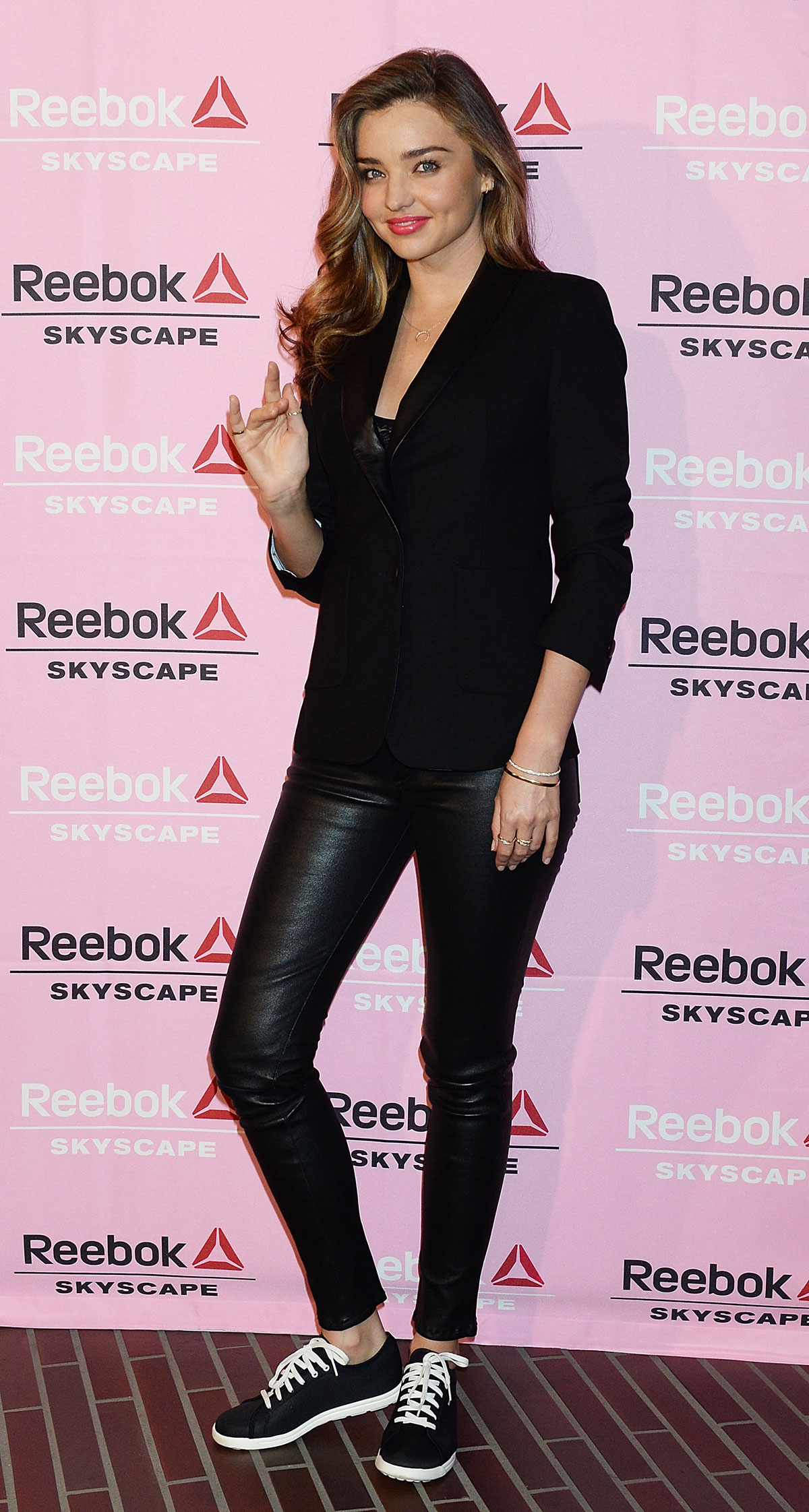 Miranda Kerr attends the Reebok Skyscape party photocall