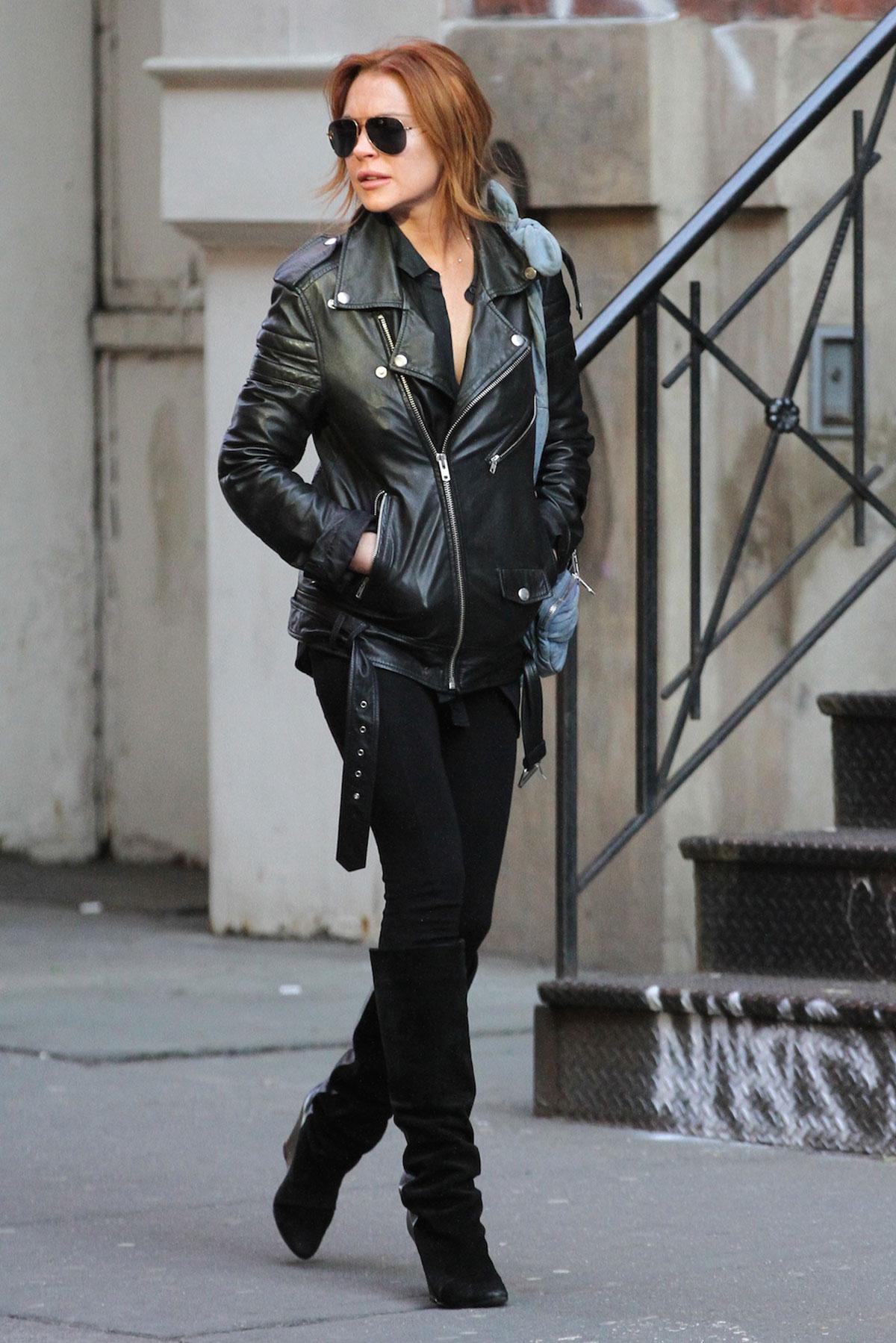 Lindsay Lohan strolled through SoHo