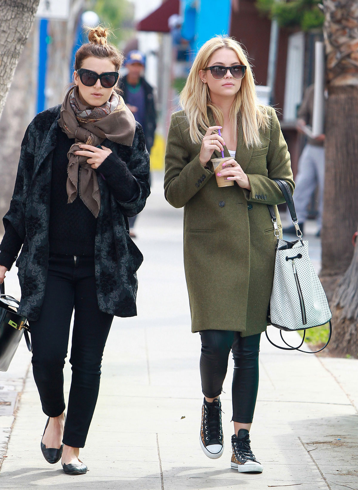 Ashley Benson grabs lunch with a friend