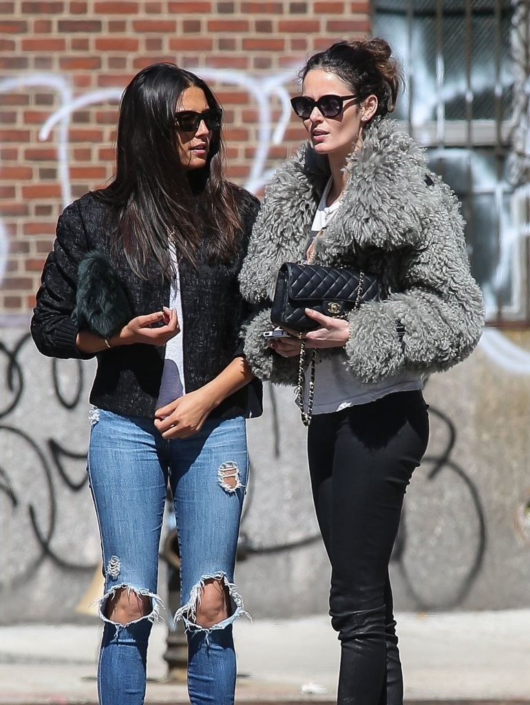 Nicole Trunfio out for a stroll with a friend in New York City