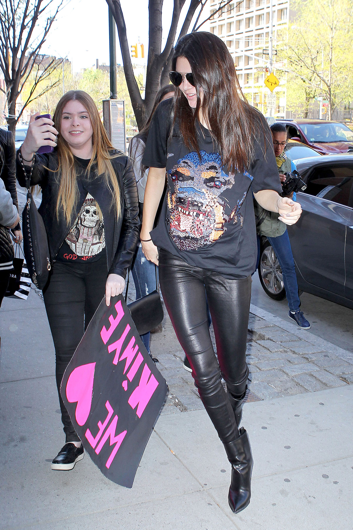 Kendall Jenner heads to her half-sister Kim Kardashian's apartment