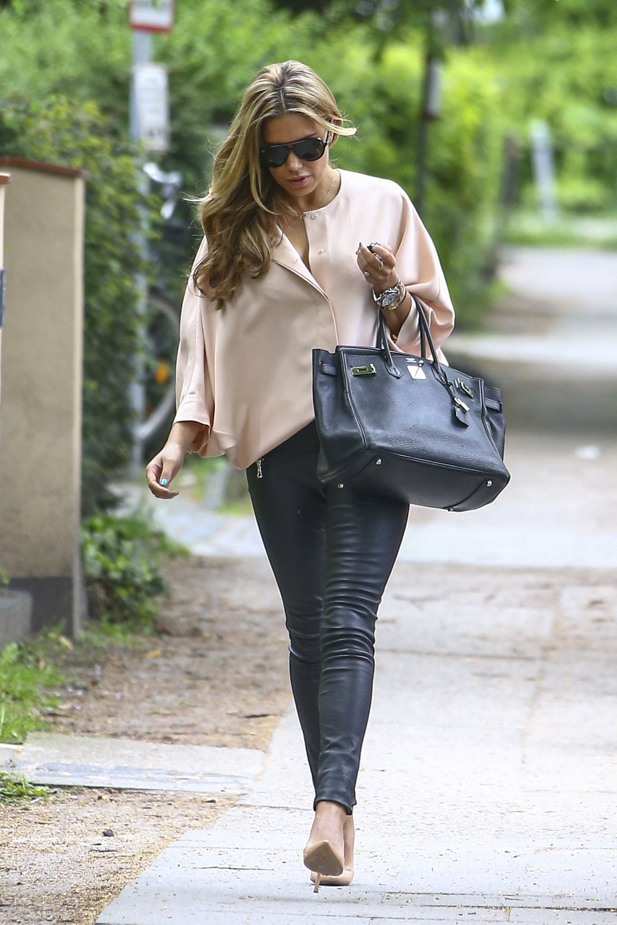 Sylvie Meis leaving the house of Betty Moghaddam