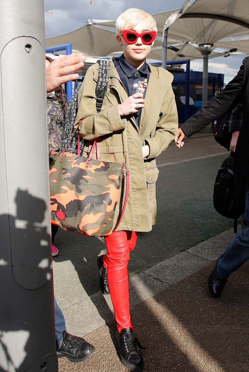 Miley Cyrus arrives at the O2 Arena ahead of her Bangerz tour concert