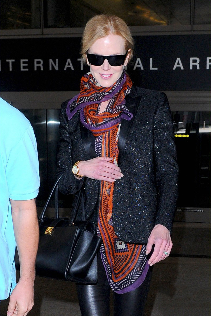 Nicole Kidman rocks leather pants while touching down at LAX Airport
