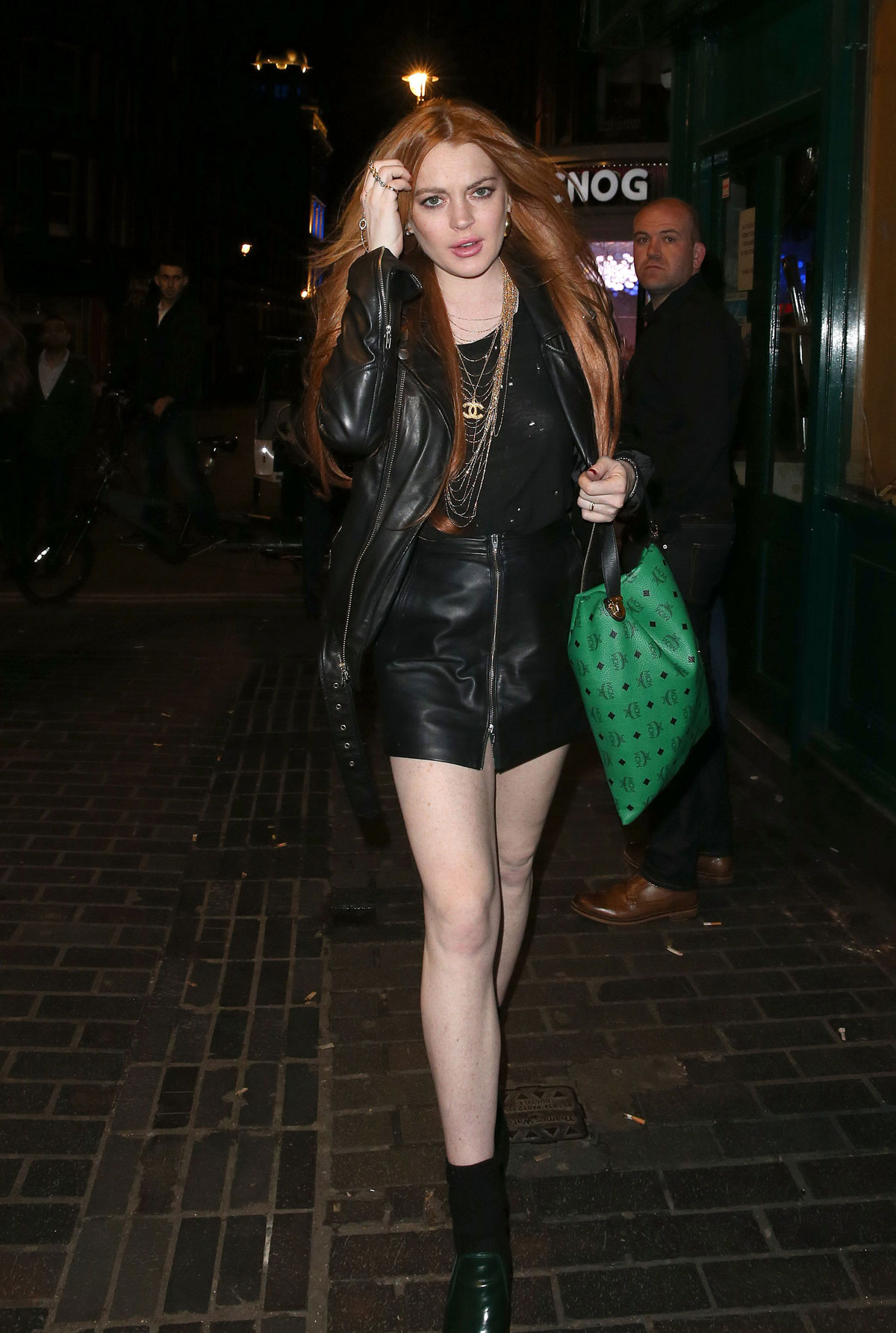 Lindsay Lohan leaving the Firehouse Club