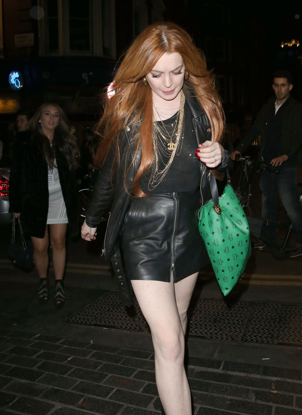 Lindsay Lohan leaving the Firehouse Club