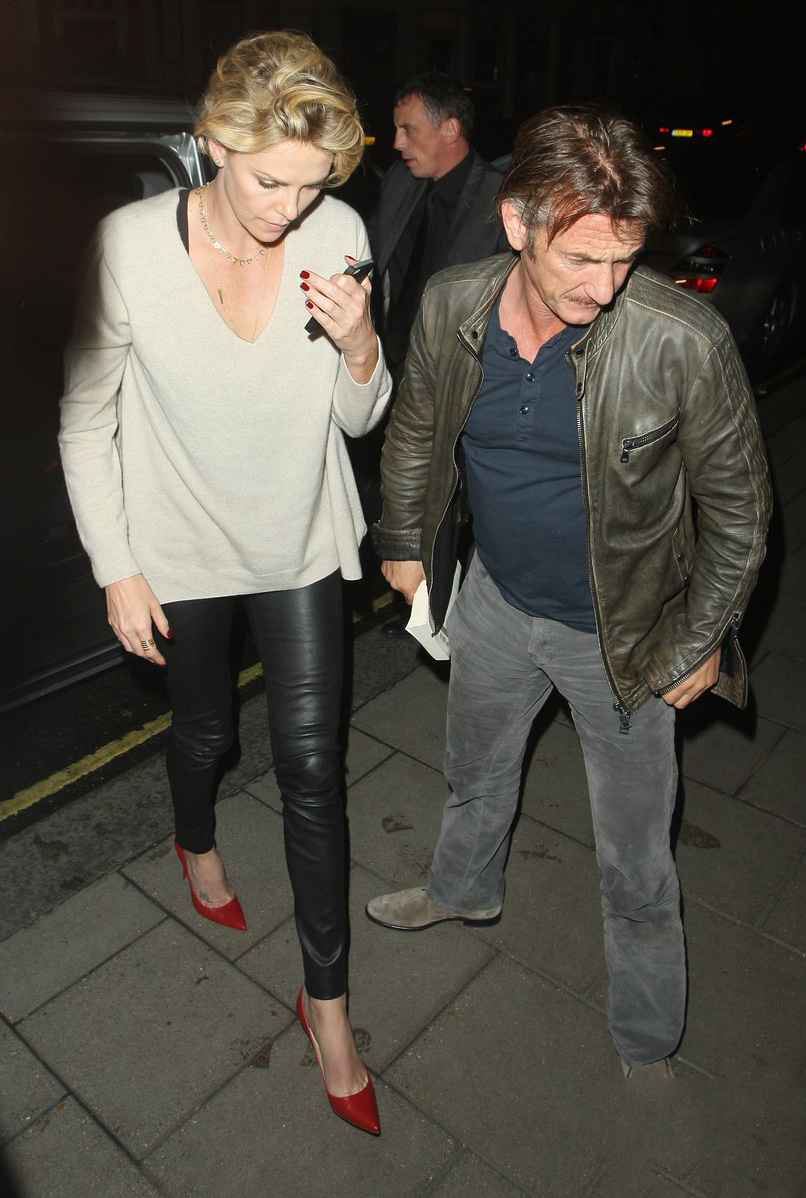 Charlize Theron return to her hotel after grabbing a late dinner