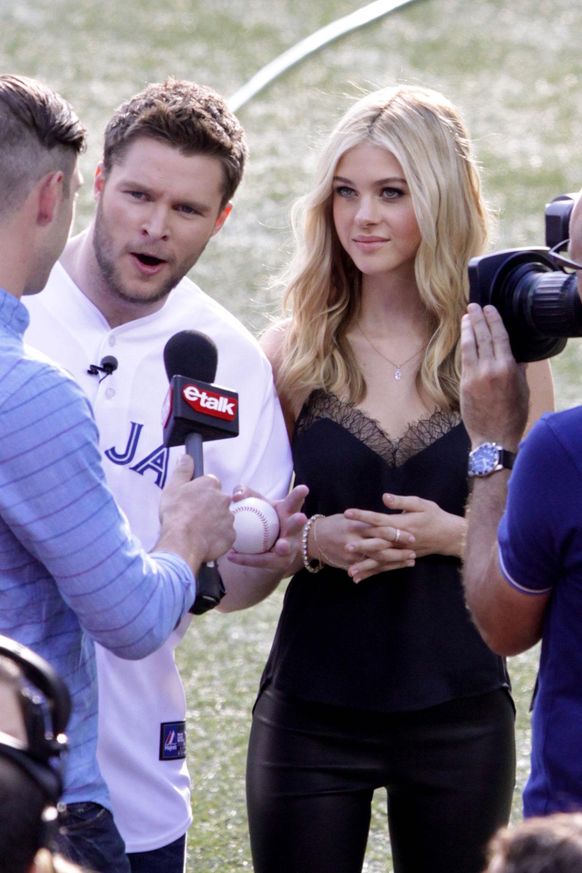 Nicola Peltz attends Blue Jays baseball game