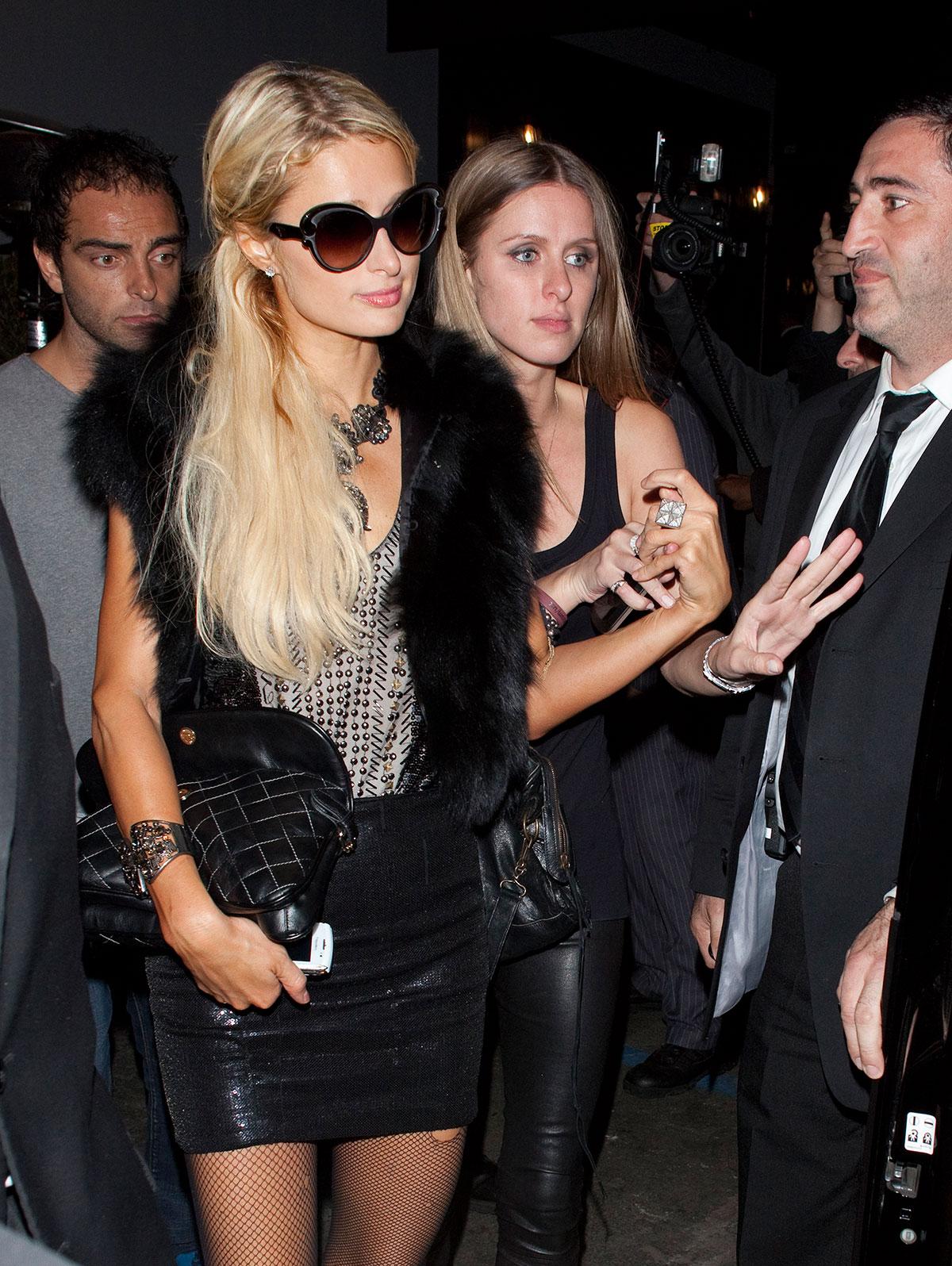 Paris and Nicky Hilton leave Greystone Manor nightclub