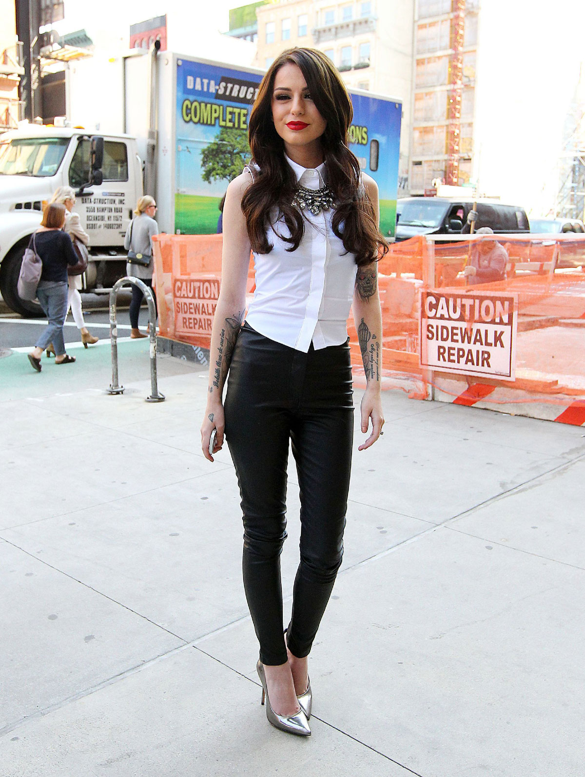 Cher Lloyd arriving at the MLB Fan Cave