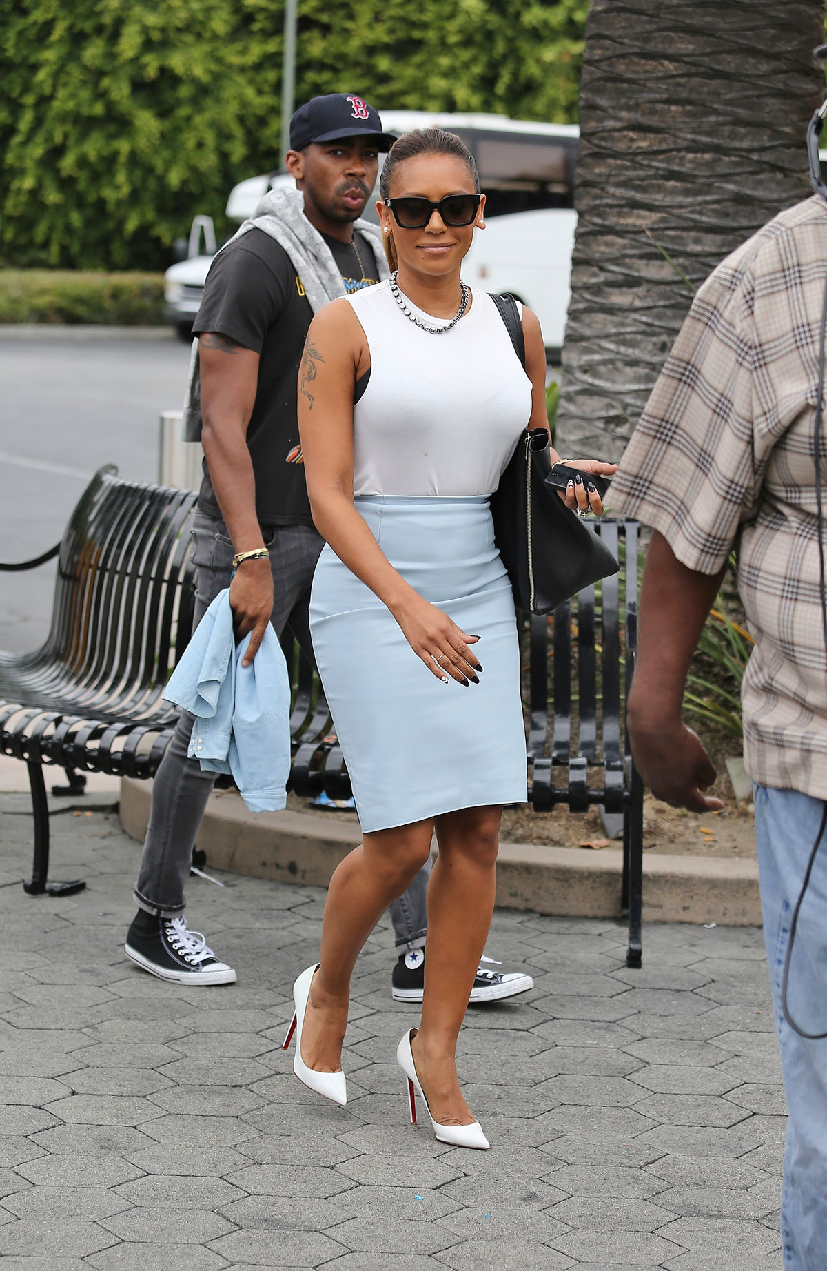 Melanie Brown at set of EXTRA